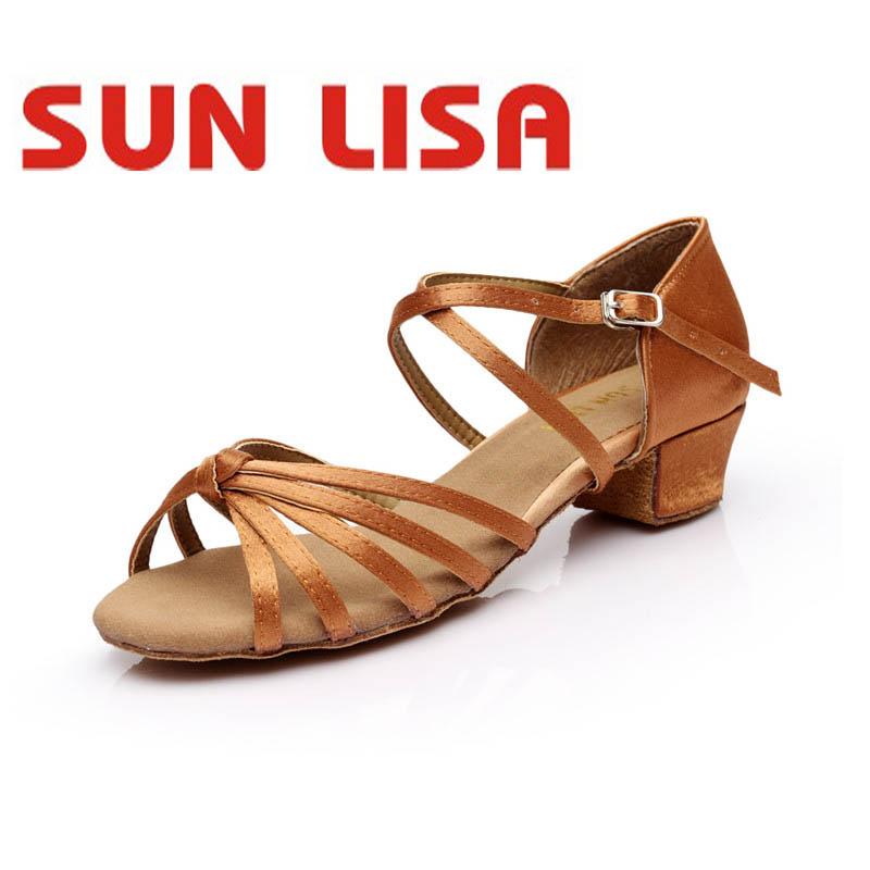 SUN LISA Wholesale Children's Girl's Latin Dance Shoes Kids Women's Professional Dancing Shoes low heel 3.5cm