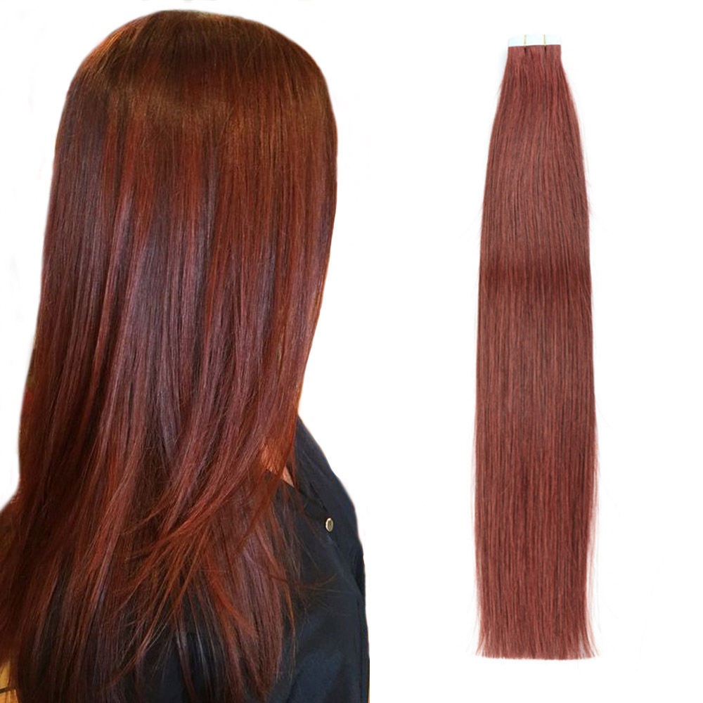 Alishow Tape In Human Hair Extensions Double Drawn Remy Hair Straight Invisible Skin Weft PU Tape On Hair Extensions