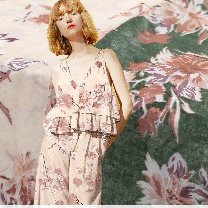 114cm de large burnout soie tissu mètre creux cheongsam robe soie velours tissu filé rayonne tissu en gros soie tissu
