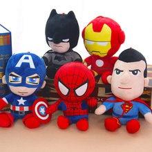 27cm człowiek Spiderman pluszowe zabawki Movie lalki Marvel Avengers miękkie nadziewane bohater kapitan ameryka żelaza świąteczne prezenty dla dzieci Disney