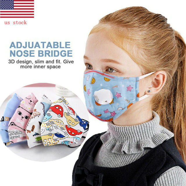 Children's Cotton Mouth Face Mask Breathing Valve Anti Dust Anti Flu Mask Adjustable Respirator Kids Outside Safe protection
