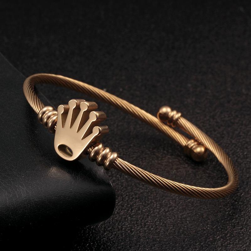 Luxury Braided Charm Open Cuff Men Women Sporty Bangles Trendy Stainless Steel Crown Charm Bracelets Jewelry