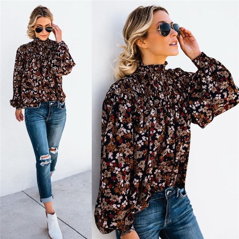Women Pirnt Flower Chiffon Shirt Blouse Shirt Clothes Long Sleeve Turtleneck Blouses Crop Puff Sleeve Top Shirts Tops