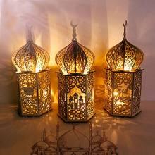 Luz do festival muçulmano ramadan eid mubarak decorações de madeira lâmpada led palácio farol islam fontes de festa