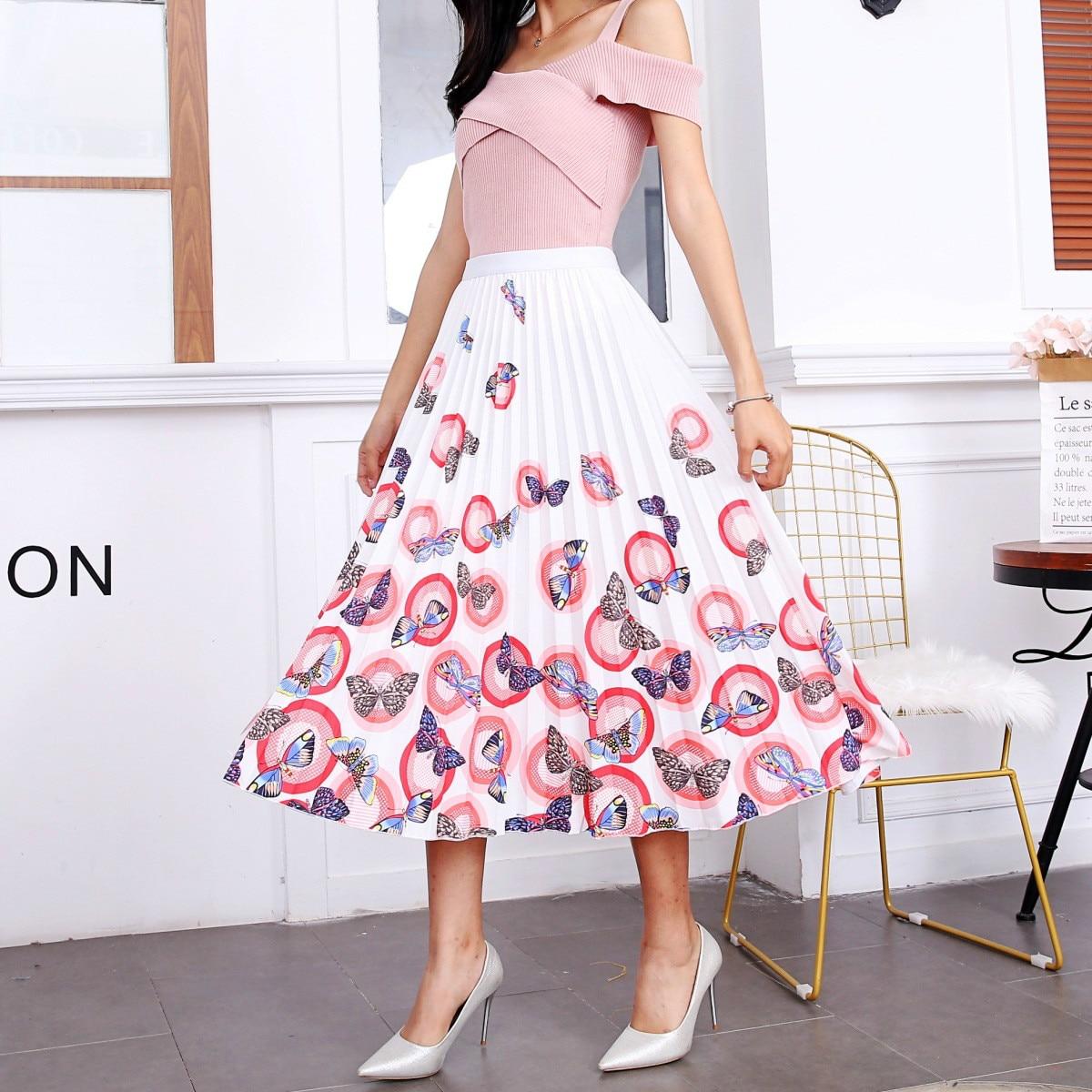2020 New Summer Skirts Womens Butterfly Catroon Print Empire High Waist Elastci Pleated Midi Skirt European High Street Style 1