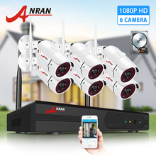 ANRAN 6CH Wireless Security System 1080P Video Surveillance Kit Outdoor Weatherproof Metal Camera Plug and Play IP66 APP Control