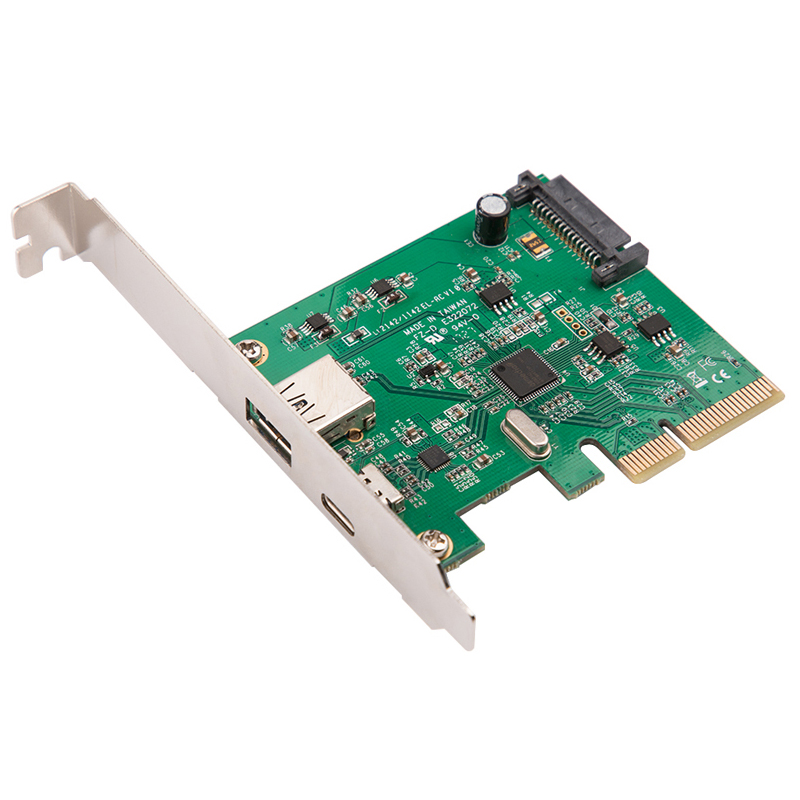 H1111Z PCI Express To USB3.1 USB-C+ USB3.1 Type-A Host Controller Card Up To USB3.1 Gen-II 10Gbps Supper Speed+ ASM3142 Chipset