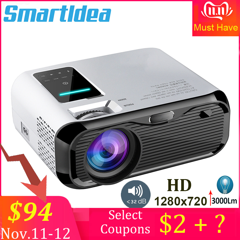 Smartldea 2019 New 720P HD MINI Projector,native 1280*720 3000lumens LED Video Proyector for Home Cinema Portable Beamer HDMI-in LCD Projectors from Consumer Electronics