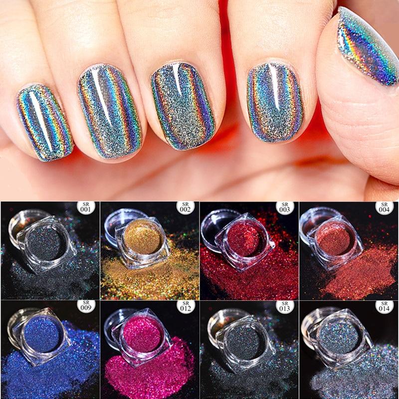 Волшебное зеркало блеск для ногтей Dip порошок Сияющий хром пигмент пыль голографическое искусство ногтей Маникюр УФ пудра для ногтей гель лак
