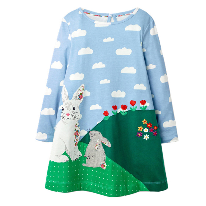 Baby Girls Dresses Clothes Kids Cotton Rabbit Dress Animal Appliqued Children Clothing Toddler Girl Dress Princess Costume 2-7Y