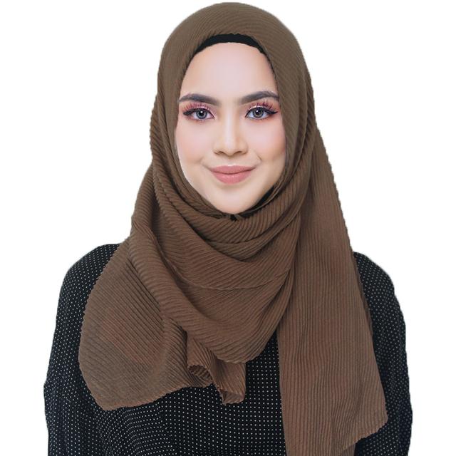 2019 NEW pleated maxi hijabs scarf elegant shawl plain maxi muslim hijab women wrinkle scarves shawls soft muffler 1 pc