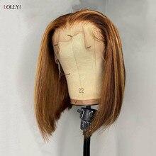 Destacar Bob peluca malayo Bob corto peluca HD transparente 13x4x1 frente de encaje pelucas de cabello humano para las mujeres negras P4/27 Ombre peluca Remy