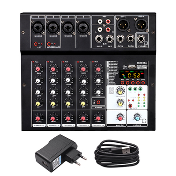BMG-06A Sound Audio-Mixer Mixing Console 6 channel Audio Interface 16 kinds DSP Effects / 48V Phantom Power USB Bluetooth MP3 - EU Plug