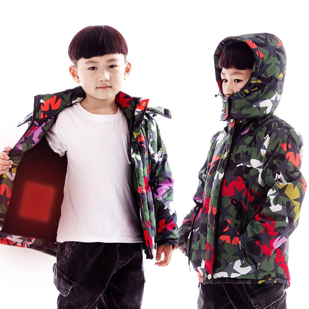 Beheizten Baumwolle Mantel USB Aufladen Intelligente Heizung Warme Jacke Baumwolle Mantel Für Kinder Winter Im Freien Aktivitäten