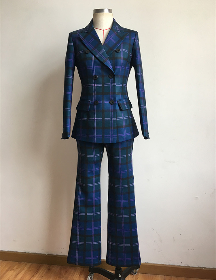 S-3XL high quality new fashion plaid print Slim thick fabric suit double-breasted shirt flared trousers women's suit 59