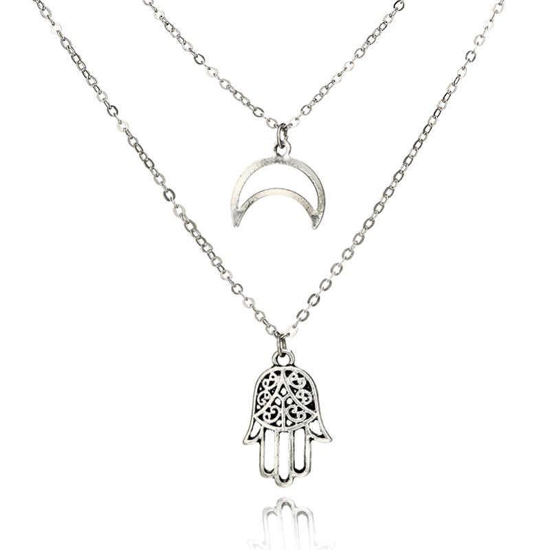 新ファッションネックレスシンプルなシンプルな女性のネックレスシルバームーンのヤシの女性アクセサリー卸売ジュエリービーズ
