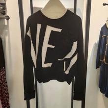 Nowy 2020 jesień kobiety marka luksusowy sweter Femele Fashion Casual wzór w napisy swetry damskie bawełna wysokiej jakości luźne góra