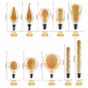 Image 2 - Retro Spiral ışık LED filament ampul 220V A60 ST64 G125 G95 G80 T45 T185 kısılabilir 4W 2200K Vintage lambalar dekoratif aydınlatma