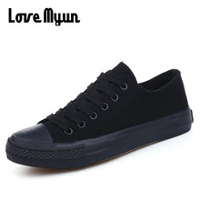 Big size All BLACK Girls Casual Canvas Shoes Breathable Walk