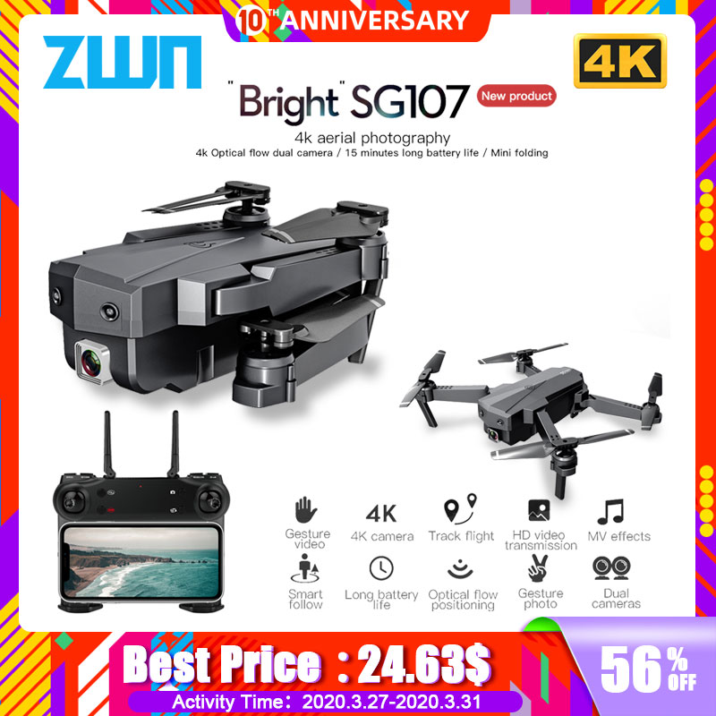 ZWN SG107 Mini Drone with 4K WIFI FPV HD Camera 2.4GHZ Quadcopter Gesture Control  Rc Dron Toys For Kids 0 VS E58 E68 SG106