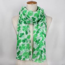 Женский модный шарф из фатина с четырехлистным принтом высокого качества в Балийском Стиле шифоновый длинный женский шарф из мягкого материала на День Святого Патрика