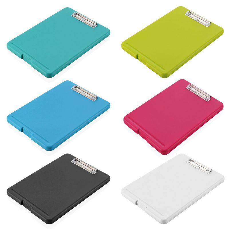 A4 Plastic Compact Clipboard Paper Storage Box File Blue