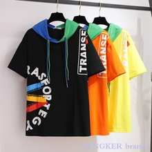 T-Shirt Hooded Matching Loose-Color Short-Sleeved Plus-Size Casual Women's Summer 6XL