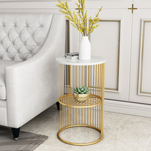 Living Room with Simple Marble Golden Side Tables Furniture Creative Iron Bedside Table Sofa Double Corner Table Small Table one lux black acrylic vanity tray table lucite side corner tables plexiglass living storage desk