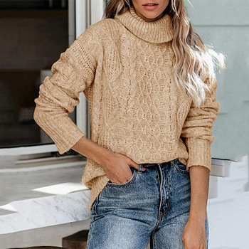 Turtleneck long-sleeved twist sweater autumn and winter knitted thickened warm black sweater slim-fit ladies high neck pullover sweater women autumn and cardigan women winter v neck knitted long sleeved slim fitting tight warm shirt pullover turtleneck