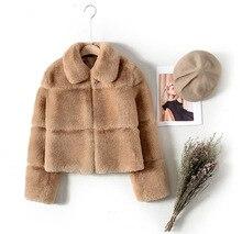Imitation rabbit fur coat female 2019 fall winter new long sleeved short lapel splice