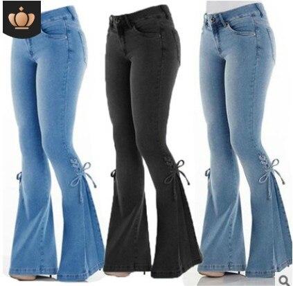 SFIT Women's Jeans Casual Slim Stretchy Denim Waist Jeans 2020 Oversized Long Flare Pants Light Blue Wide Leg Trousers For Women