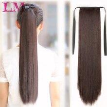 """LM 1"""" 22"""" 2"""" 28"""" 3"""" длинный прямой шнурок синтетический конский хвост черный/коричневый термостойкий шиньон зажим для наращивания волос"""