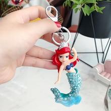 2019 Cartoon Animated crystal Mermaid Princess Car Key Chain Female Bag Woven Pendant Luxury Gift key rings