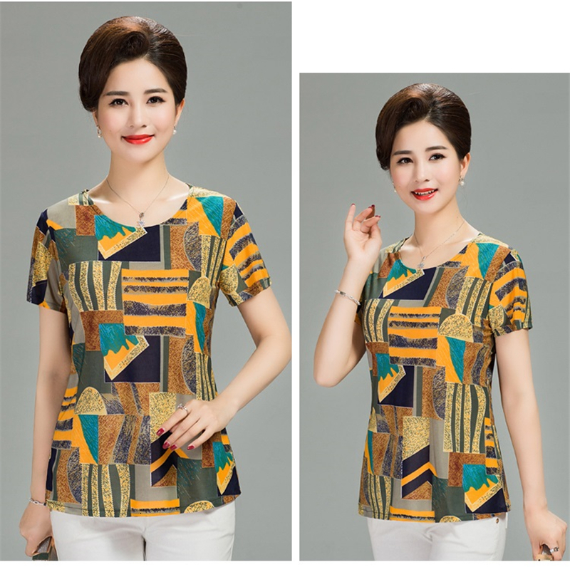H96332d6a40dd4a0c94afe674957027dez - Women Summer T-shirt Printed Milk Silk Short Women's T shirt Middle-aged Mother Clothes Plus size L-4XL Female Tops