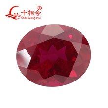 Искусственный рубин 8 # темно красный овальной формы естественной