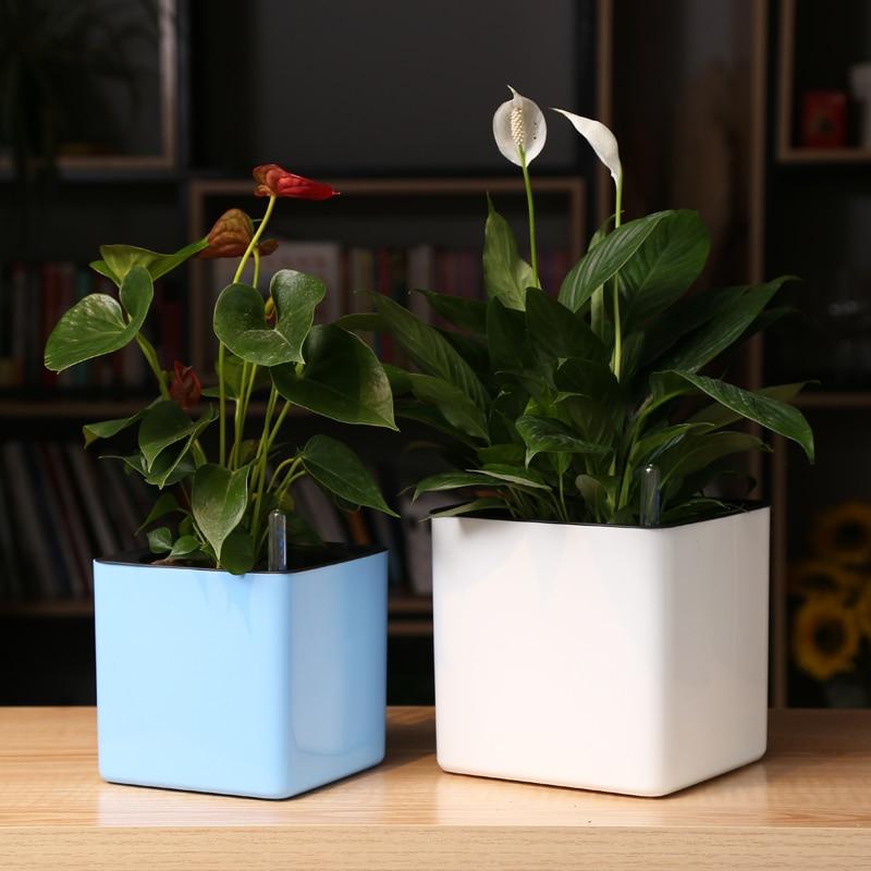 Four Colour Margic Square  Lazy Self Absorption Water Creative Personalized  Porcelain Plastic Flower Pot For Graden Plant