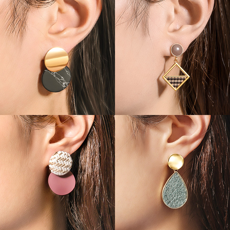 X&P New Korean Round Earrings For Women Statement Geometric Gold Shell Fluff Dangle Drop Earrings 2020 Wedding Fashion Jewelry