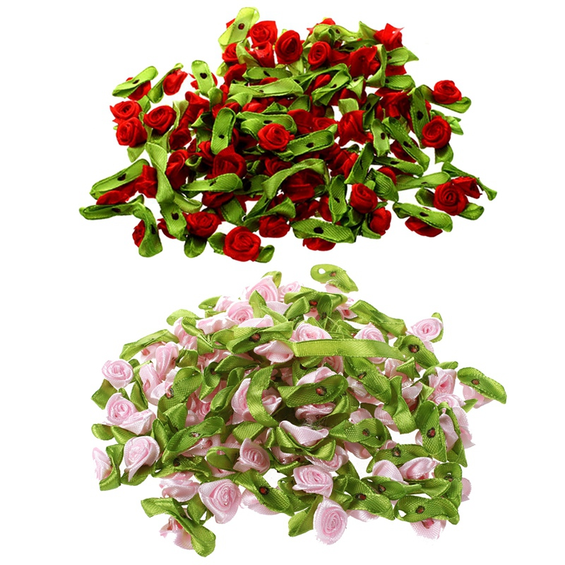 200 Pcs Mini Satin Ribbon Rose Flower Leaf Wedding Decor Appliques Sewing DIY Main , 100 Pcs Pink & 100 Pcs Red