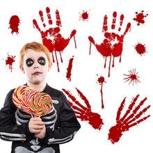 Papier peint imprimé main de palme de sang pour Halloween, autocollant mural pour maison hantée, porte fenêtre de Bar, salon, chambre à coucher, décoration de maison, 2020