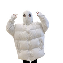 2019 Winter Coat Female Cotton Parka Lovely Funny Alien White Solid Women Harajuku Personality Bread Ins Hot