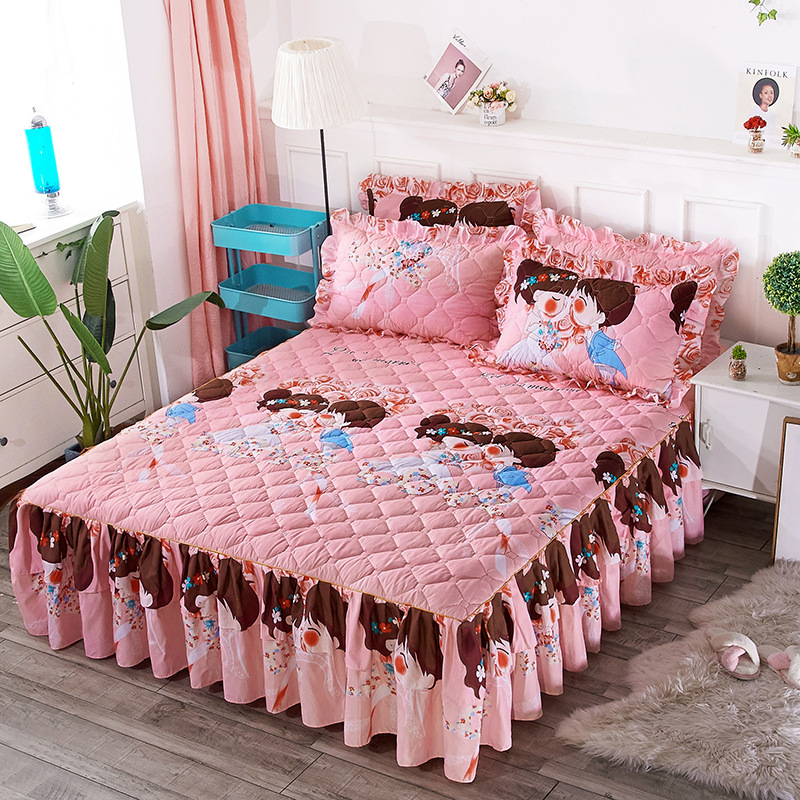 Princess Bedding Bed Skirt Pillowcases Winter Thick Warm Lace Bed Sheets Mattress Cover King Queen Size Bed Cover