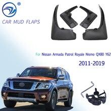 닛산 Armada Patrol Royale Nismo QX80 Y62 2011 2019 스플래쉬 가드 머드 플랩 용 4PCS 머드 플랩 머드 가드 2012 2013 2014 2015 2016