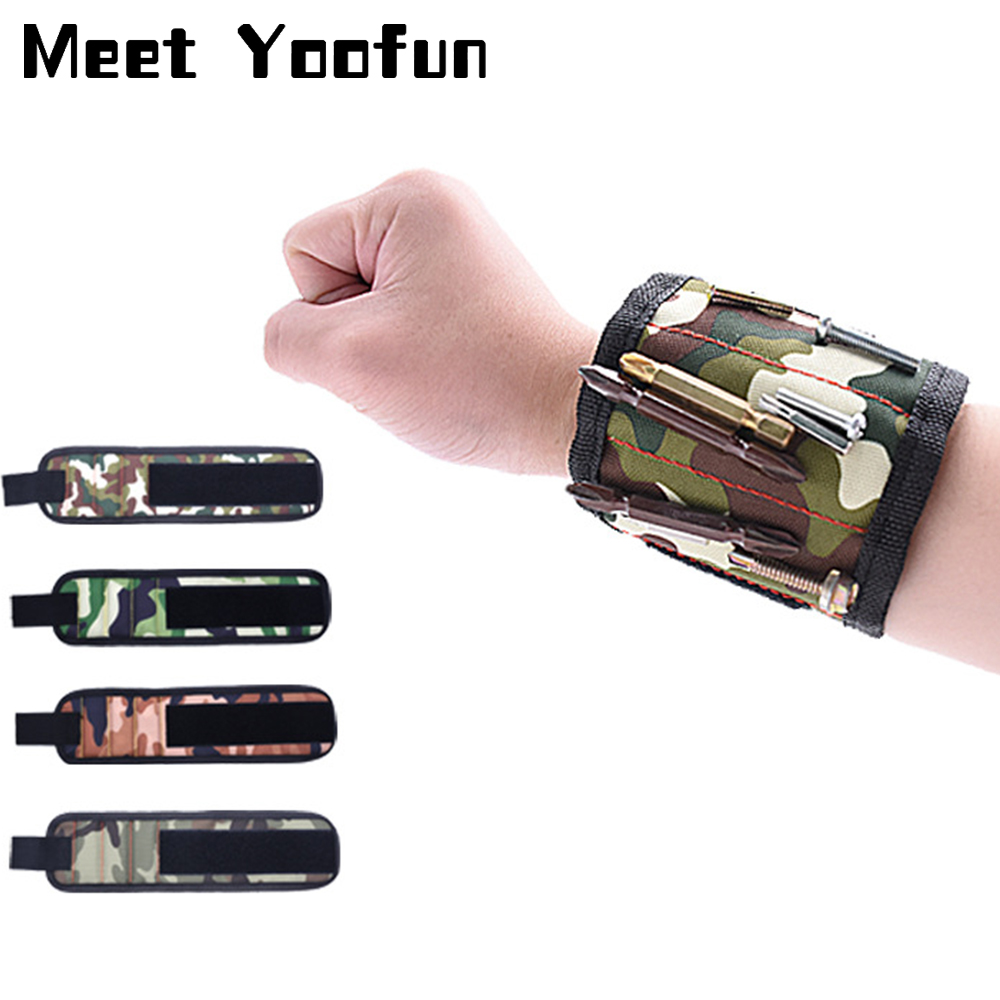 Camouflage Wrist Magnetic Band Bracelet Strap Repair Tool Magnets Bangles Holding Scissors Screws Nails Tips Storage Tools