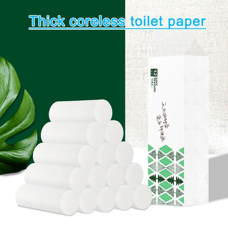 12 Rolls Toilet Paper Bulk Rolls Bath Tissue Bathroom Soft 4 Ply Thicken For Home New H9