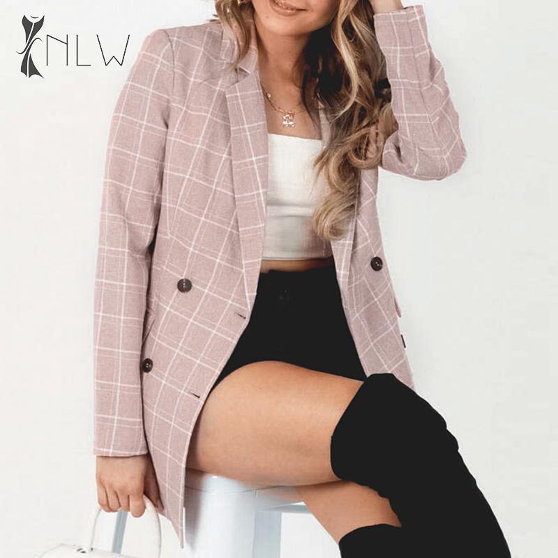 NLW Streetwear Plaid Pink Blazer Coat 2019 Autumn Winter Women Office Blazer Feminino Elegant Button Blazer Chaqueta Mujer