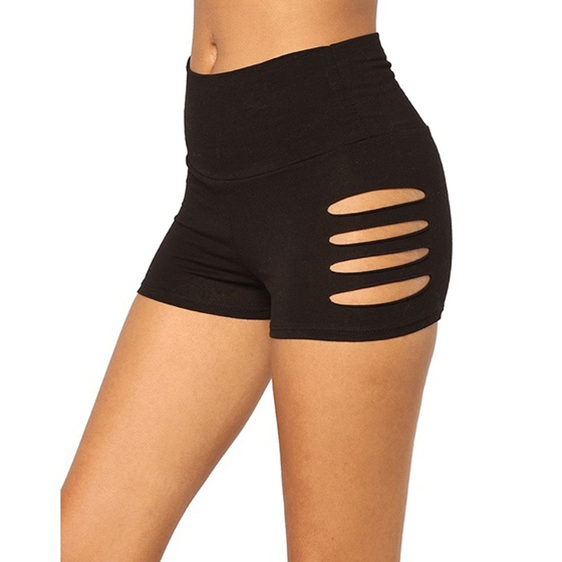 Women Casual Slim Shorts Summer Shorts Workout Waistband Skinny Solid Short Shredded Biker Shorts
