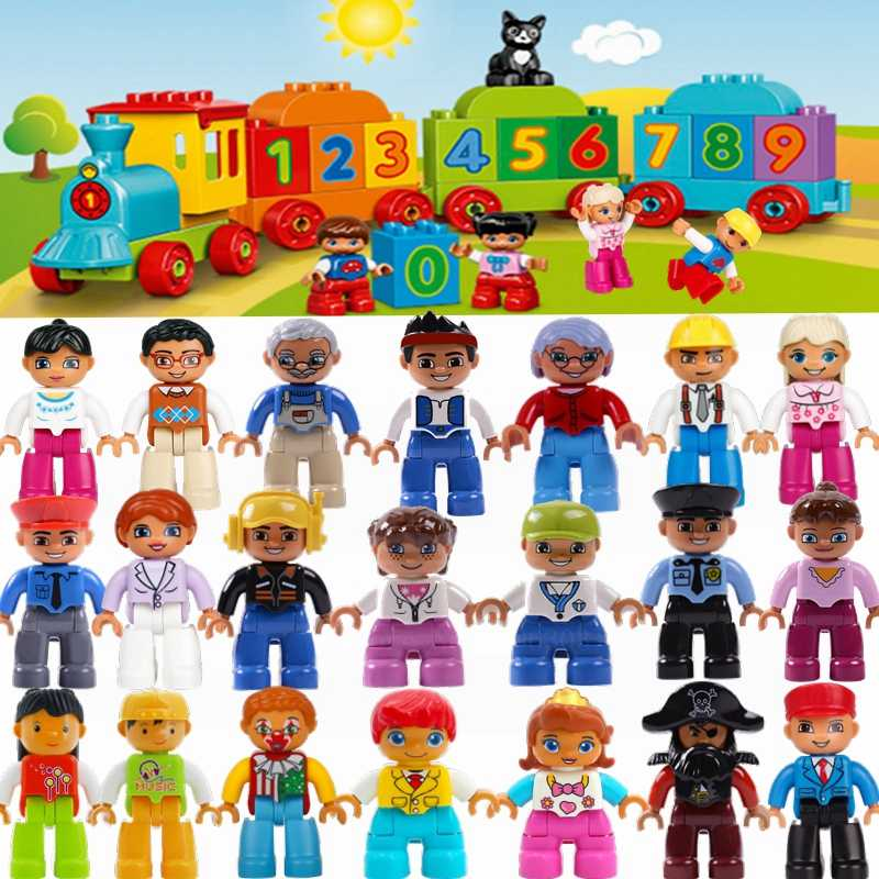 Legoing Duplo Building Blocks Figures Family Worker Police Farmer Compatible Duploed Animal Train DIY Education Toy for Baby Kid