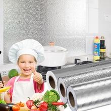 Pegatinas impermeables a prueba de aceite para cocina de varios tamaños, papel de aluminio para cocina, armario, autoadhesivo, papel tapiz DIY
