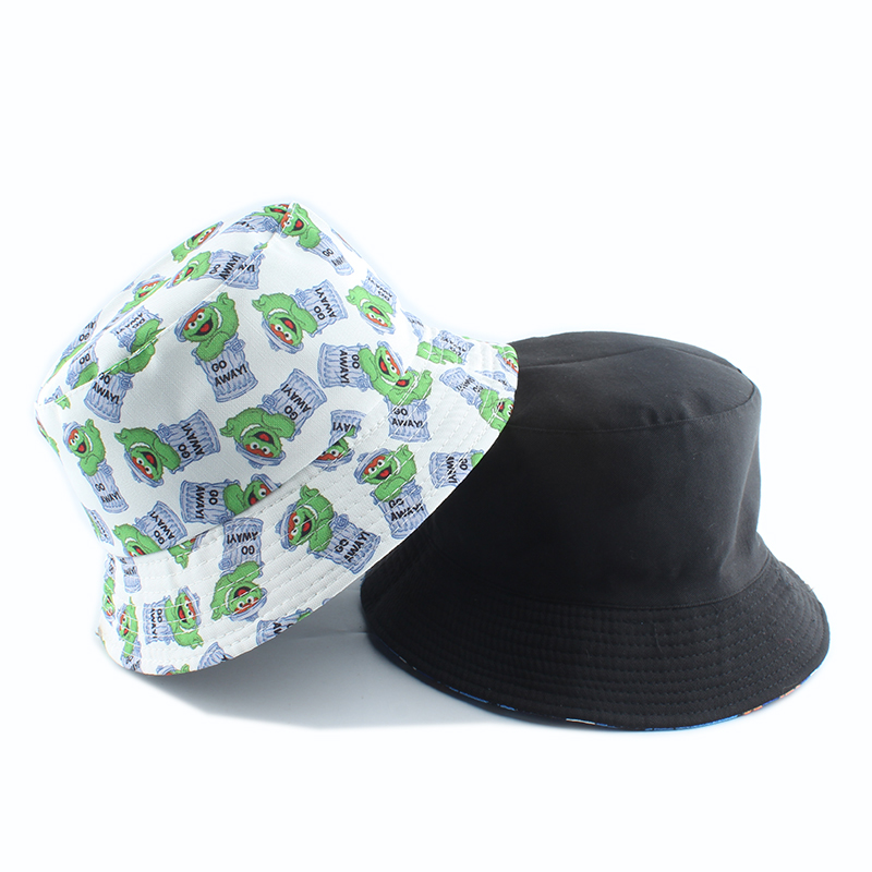 H9633fd8db77c4c4e8c4f6e8a3c45e434J - Summer Fisherman Hat Reversible Cartoon Bucket Hats For Women Men Street Hip Hop Bucket Cap Vintage Printed Fishing Hat