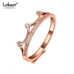 Lokaer Trendy tytanowa stal nierdzewna Rhinestone pierścionek w kształcie korony biżuteria kolczyki Classic Rose złoty CZ kryształowe obrączki dla kobiet R19137